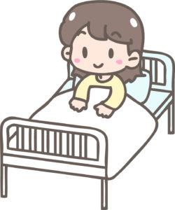 ベッドにいる女の子イラスト