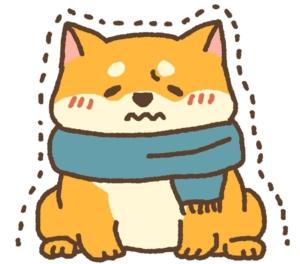 寒そうな犬のイラスト